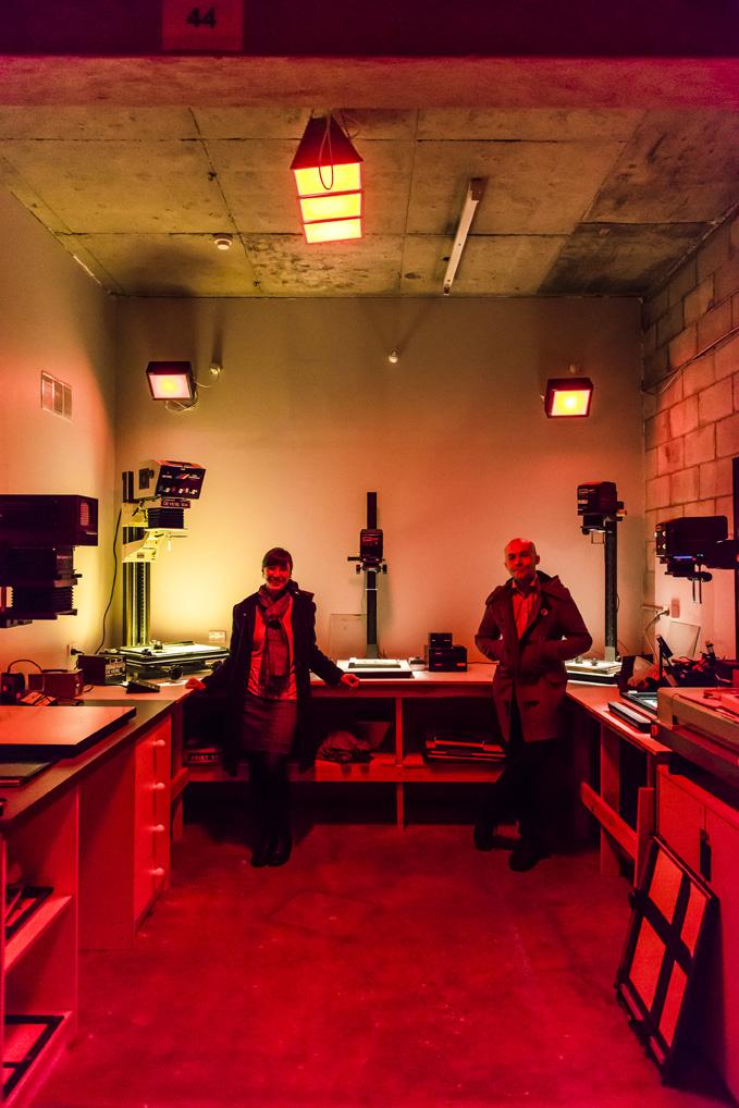 Aurelia & Alex, inside the main darkroom. Photo credit: Sven Kovac