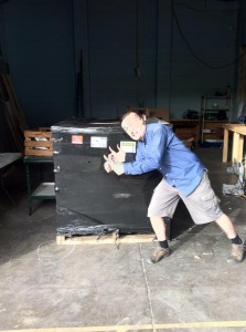 Andrew Dearman and the massive box of ducting parts from Ductware