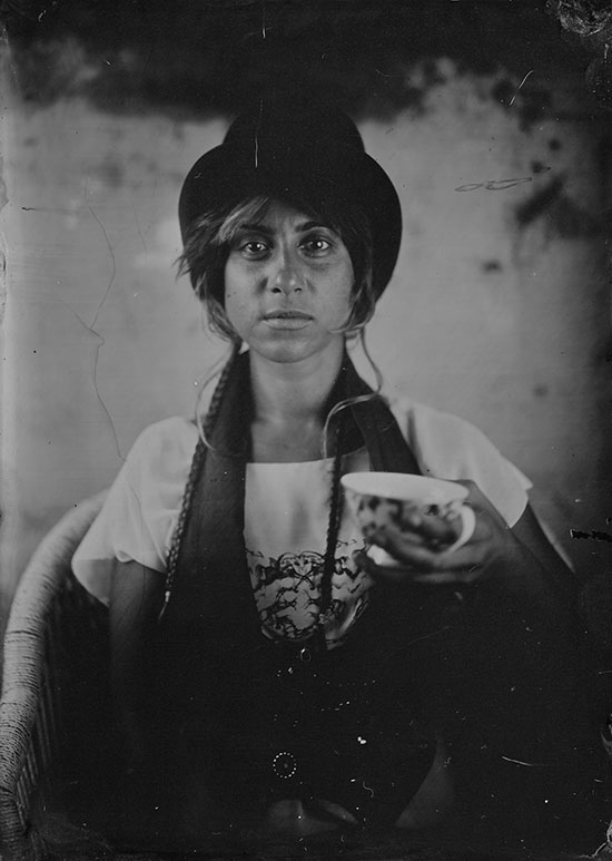 Tea, anyone? Delana Carbone in tintype - one of our very first portraits.