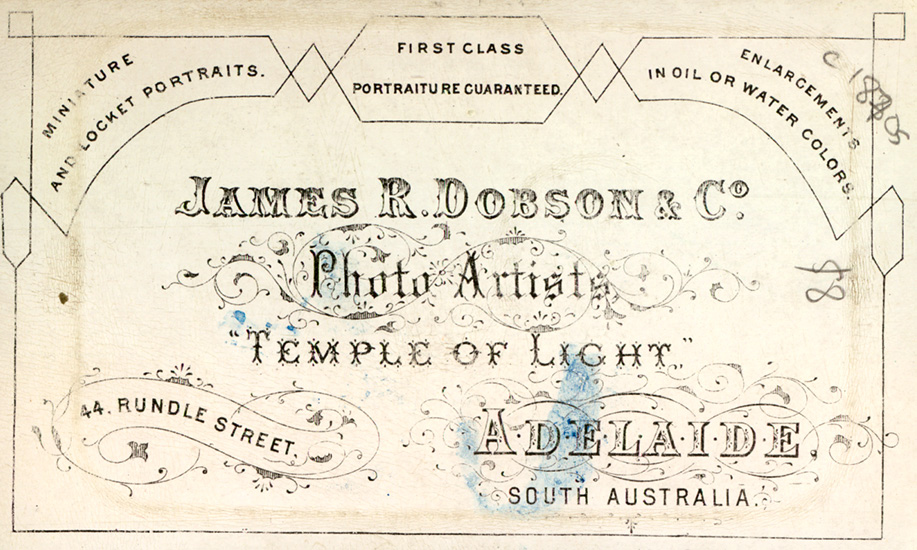 The back of a Carte de Visite from Adelaide- advertising the studio's prowess.