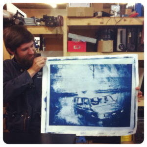 John had a brilliant/crazy idea to make giant negatives on ortho film for contact printing. No digital negatives for This Man! We convinced him to test one out with some cyanotype. Blue goo, we do love you.