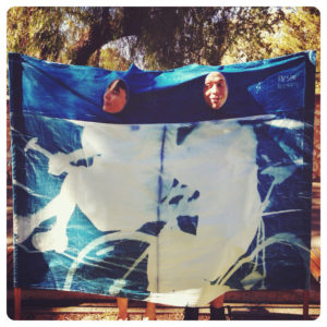 A 'carnival cutout' cyanotype, made for Moving Music 2014