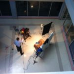 Our workshop studio in the basement atrium - a mixture of natural and continuous light sources.