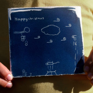 One of our own small resident artists, Orlando has been making cyanotype Christmas Cards for his friends using tracing paper to create a negative. Yes that iguana is on a trampoline, and yes they are having a great time.